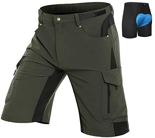 Vzteek Herren MTB Hose Fahrradhose mit Gepolstert, Schnelltrocknende MTB Shorts Mountainbike Hose Herren(Grün,XL)