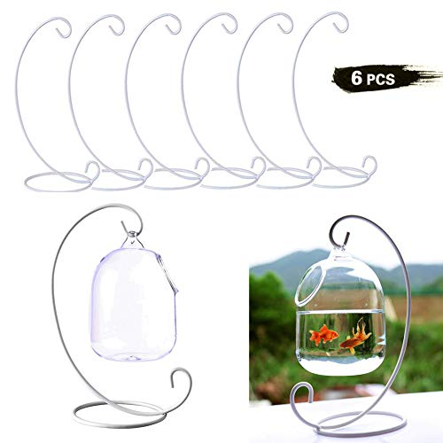 Set of 6 Christmas Ornament Display Stands Holder Hooks Hanging Lantern Candle Glass Bauble Sphere Tree Plant Light Candle Easter Egg Ball Wedding Decoration 9'