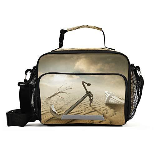 JUMBEAR Art Desert - Bolsa de almuerzo para barco, aislada, impermeable, reutilizable, con correa de hombro desmontable, con cremallera, para escuela, oficina, viajes, pícnic