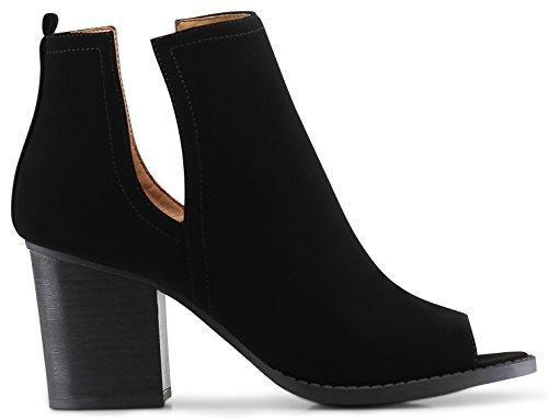 Moscow Slip On Side Cut Peep Toe Medium Mid Heels Ankle Sandals Booties Boots - (Black Nubuck) - 6