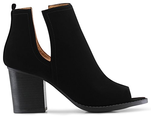 MARCOREPUBLIC Moscow Slip On Side Cut Peep Toe Medium Mid Heels Ankle Sandals Booties Boots - (Black Nubuck) - 11