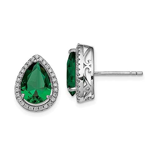 diamond2deal chapado en plata de ley 925rhodium- simulado esmeralda y circonita Post pendientes