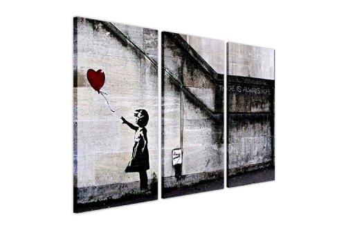 BANKSY CANVAS muur kunstdrukken er is altijd HOPE rood ballon meisje foto drukken foto's huis DÉCOR GRAFFITI FOTO'S 3 PIECE CANVASES