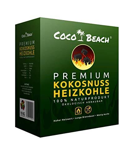 CocoBeach Premium Heizkohle | 10 kg | 100% beste Kokosnuss-Kohle für Qualität im Kamin | Ofen | Grill | BBQ | Nachhaltiger Rohstoff | Keine klimafeindliche Steinkohle – Braunkohle | Profi Grillkohle