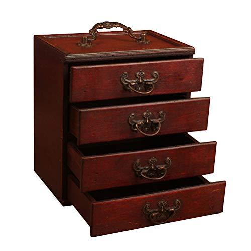 HKHJ Joyero de Madera Retro, Caja de Almacenamiento Desktop con 4 Cajones, Caja de Joyería para Pendientes, Anillos, Pulseras
