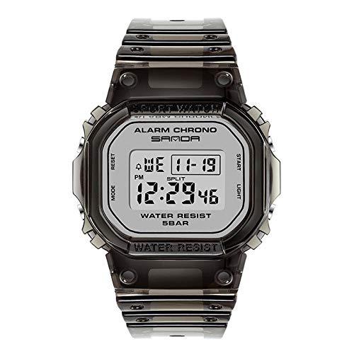 SANDA Uhr,Multifunktionale elektronische wasserdichte transparente Armband-Sportuhr Youth Student Trend Watch-Schwarz mit weißen Nudeln