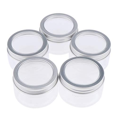 B Baosity 5 Piezas Botella de Loción Recipientes en Crema Envase de Bálsamo Tarros de Plástico Lata Vacía Embotella - Claro, 100 ml