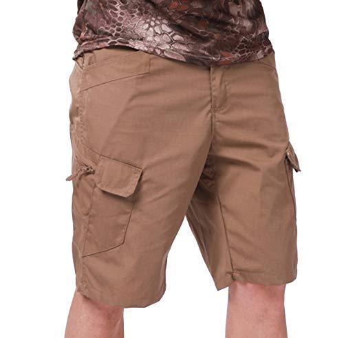 Feng Pantalones Cortos tácticos para Hombre Pantalones de Camuflaje Cargo Short Pantalones Cortos Multibolsillos para Exteriores Atlético Casual Senderismo (Brown,XL)