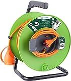 Electraline 20866138G - Enrollacables para jardín (40 m) color verde y gris