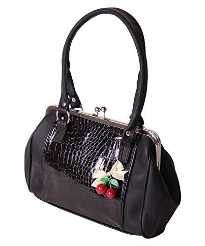 SugarShock Damen Handtasche Renita Kisslock Kroko, Farbe:Schwarz