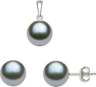 Gray Freshwater Cultured Pearl Set AAAA Quality Sterling...