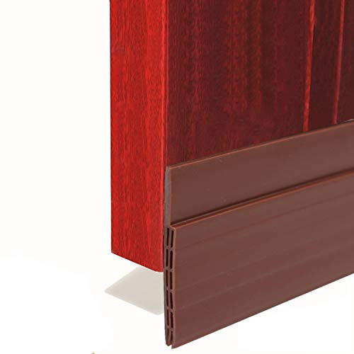 "BAINING Door Draft Stopper Sweep, 3 Inches Widening Door Bottom Seal Strip Under Door Noise Blocker for Interior Doors Insulation and Soundproofing, 3"" W x 39"" L Brown (2019 New Upgrade)"