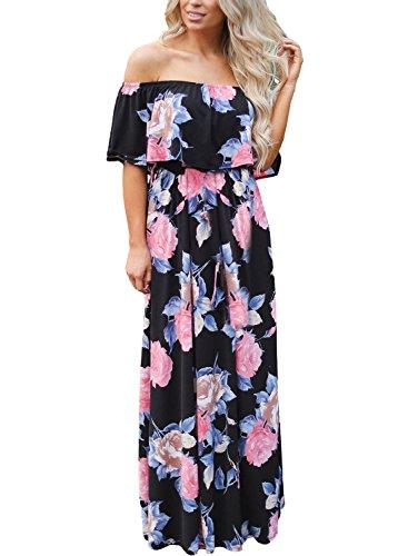Happy Sailed Women Floral Print Off Shoulder Maxi Dresses, Medium Black