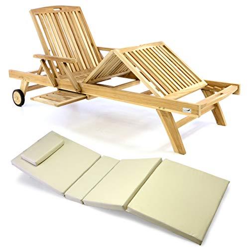 Nexos Divero Sonnenliege Holzliege Gartenliege Teak-Holz unbehandelt mehrfach verstellbar inkl. Räder Tablett + Liegen-Auflage 4-teilig wasserabweisend orange grün Creme (Farbe wählbar) (Creme)