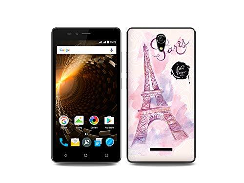 etuo Handyhülle für Allview P6 Energy Lite - Hülle, Silikon, Gummi Schutzhülle Fantastic Case - Rosa Eiffelturm