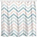 Sunlit Zickzack-Duschvorhang, gestreift, modernes geometrisches Muster, Grün & Rosa / Weiß