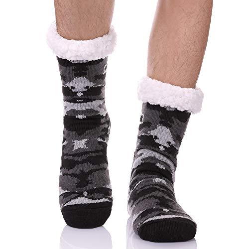 CHOWISH Men's Slipper Socks Winter Thermal Fleece Lining Camouflage Non Slip Stockings (Camouflage 5)