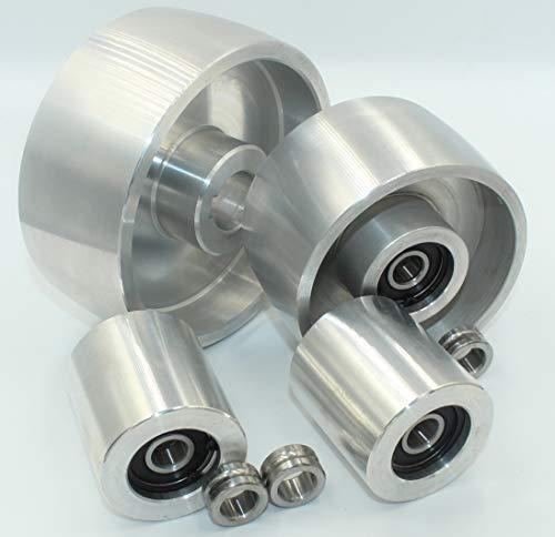 (AL5 -Tracking 4 -Schaft 24) CNC gefräste Riemenschleifer Radsatz Set für Messerschleifer 130 mm Antriebs-24 mm Schaft 100 mm Spur 50 mm Idler