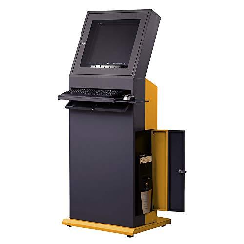 QUIPO PC-Terminal - HxBxT 1600 x 650 x 600 mm - schiefergrau/melonengelb - Computerschrank