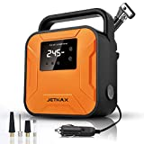 JETHAX Air Compressor Tire Inflator, 12V Portable Air Pump for Car Tires, Tire Pump with LED Light, Long Cable and Auto Shut Off Compatible with Car, Bicycle, Motorcycle, Balls, Inflatable Pool…