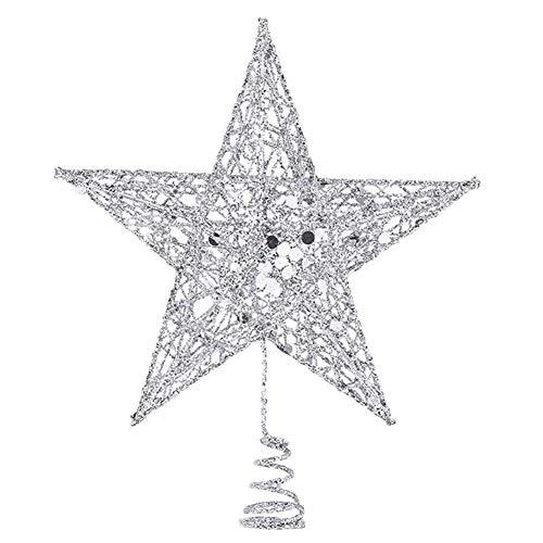 SpringPear® 15 cm Silber Weihnachtsbaumspitze Glitzernd Stern aus Metall Weihnachtsbaum Glitzer Topper Party Dekoration