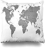 Mesllings - Funda de cojín Cuadrada, diseño de mapamundi en geografía, Color Blanco, Negro, Globo Plano, Europa, decoración del hogar, 45 x 45 cm