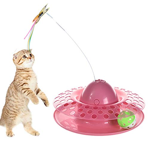 Interactive Cat Toys Roller,Cat Teasing Toy, Electric Mute Training Cat Toy with...