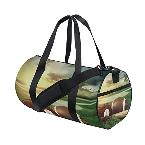 TIZORAX Baseballschläger und Handschuhe in Field Sunset Fitnessraum Duffle Bag Drum Tote Reisetasche Rooftop Rack Tasche
