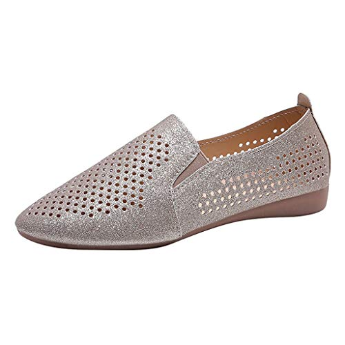 LHWY Zapatos de Planas Mujer Verano Antideslizantes Respirable Zapatillas (37EU Oro