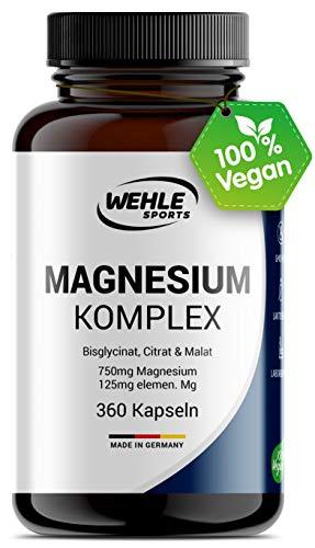 Magnesium Komplex. 375mg elementares Magnesium je Tagesdosis. Magnesiumbisglycinat Magnesiumcitrat Magnesiummalat, hochdosiert, vegan (360 Kapseln (Sparpaket))