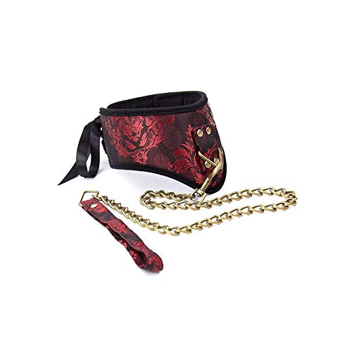 QYXJJ Vintage Neck Choker Leash Dog Collar Necklace Punk Rock Gothic Choker Women Chain Neckband Waist Belt Metal Harness Body Cage b.d.š-ṃ bô.ňd.áģê lí-ńģêriê hán-dćῡffs ŕešt-rain-t (Color : Red)