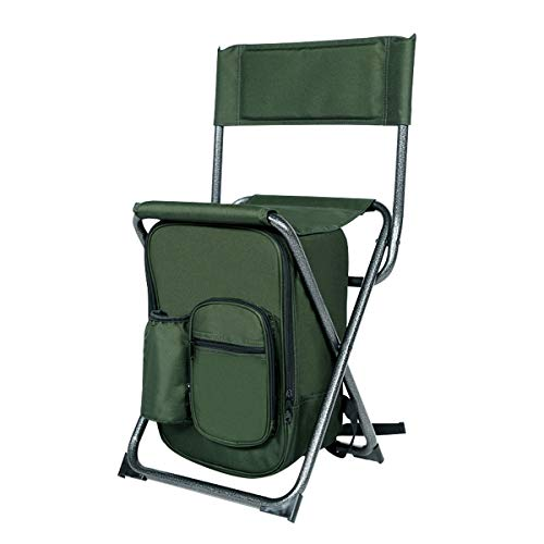 PORTAL Lightweight Backrest Stool Compact Folding Chair Seat with Cooler Bag and Backpack Straps for Fishing, Camping, Hiking, Supports 225 lbs