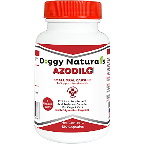 Azodil Plus Kidney Health Supplement for Dogs & Cats, 120ct - NO REFRIGERATION REQUIRED - Help Support Kidney Function & Manage Renal Toxins - Renal Care Supplement Capsule(U.S.A)