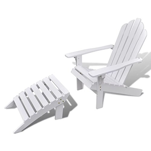 Nishoret Holzsessel Gartenstuhl Gartensessel aus Holz mit Fußhocker Witterungsbeständig Weiß 70,5 x 96 x 92 cm (B x T x H)