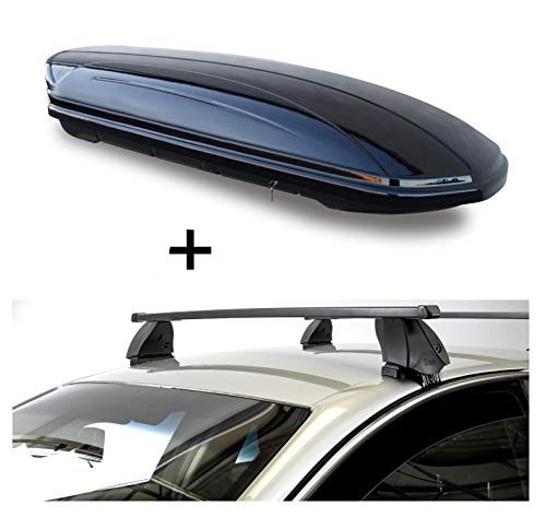 Dachbox VDPMAA320 320 Liter abschließbar schwarz + Dachträger K1 MEDIUM kompatibel mit Nissan Juke (5Türer) ab 10