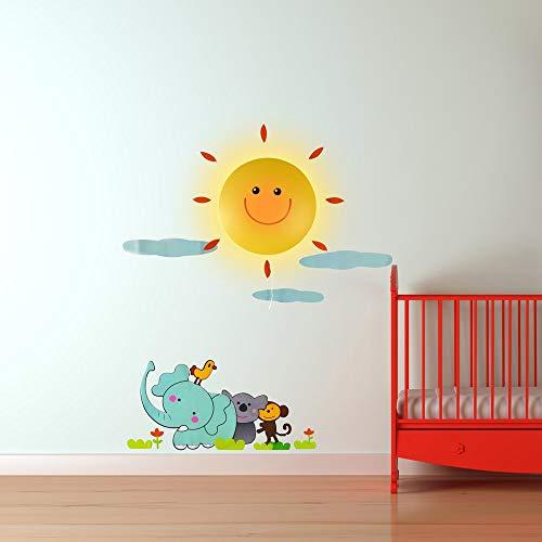 GiggleBeaver Soleil et éléphant Applique Murale et Autocollant