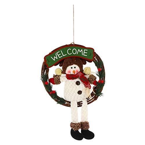 KESYOO Boneco de Neve de Natal Grinalda de Boneco de Neve Com Sinal de Boas-Vindas Madeira Rattan Pano Porta da Frente Boneca de Natal Guirlanda Pingente para Festa Festiva Festa de