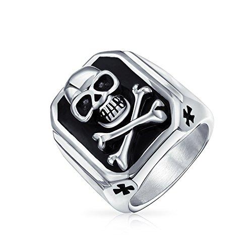 Bling Jewelry Black El Caribe Pirata Calavera Y Dos Huesos Cruzados Rectángulo Anillo Sello para Hombres Tono Plateado Acero