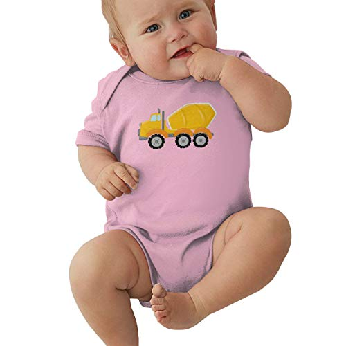 Construction Zone Cement Truck Baby Jersey Bodysuit Unisex Baby's Climbing Clothes Bodysuits Romper Short Sleeved Light Onesies Pink 0-3m