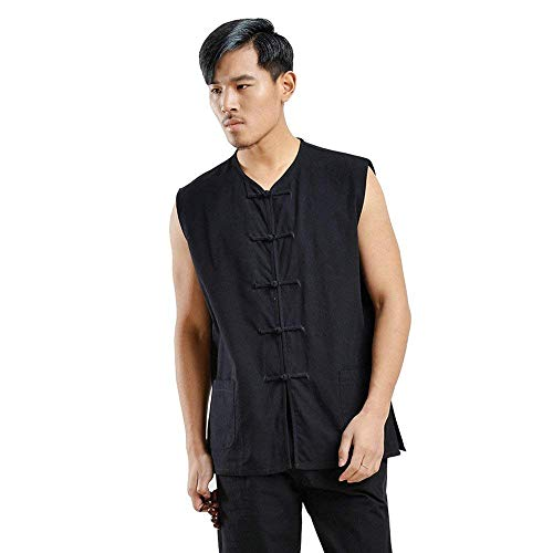 Zooboo Kung Fu Uniform Vest - Chinese Traditional Qi Gong Martial Arts Wing Chun Shaolin Tai Chi Training Cloths Apparel (Black, M)