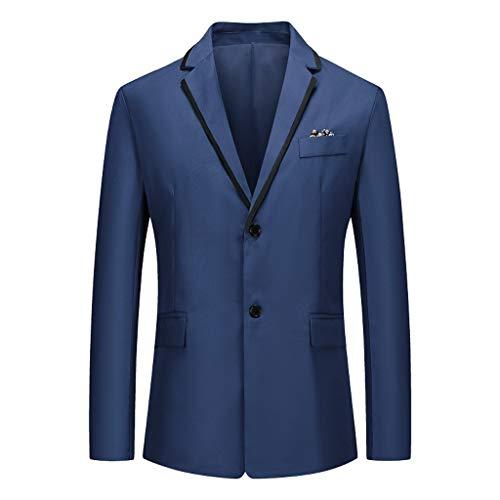 Yowablo Herren Anzugjacke Männer Mantel für Geschäft Hochzeit Party Business Einreihig Schnalle Knöpfe Jacke Suit Regular Fit Mens Stilvolle Top Coat Outwear (XL,Marine)
