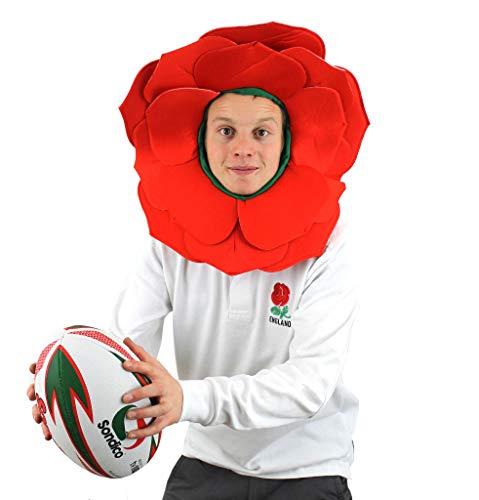 I LOVE FANCY DRESS LTD Chapeau Rose Fleur DÉGUISEMENTS Angleterre SUPPORTEURS DE Sport Couvre-Chef PÉTALES Rouges À Capuche Verte Rose Anglaise