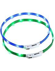 Zacro Lichtgevende halsband voor honden, 2 stuks, oplaadbaar via USB, in lengte verstelbare hondenhalsband met drie verlichtingsmodi voor honden en katten