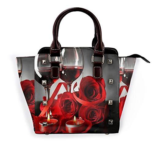BROWCIN Rosa Vino Tinto Vela Romántica Pareja Amantes Desmontable Moda Tendencia Bolso de las señoras Bolso de hombro