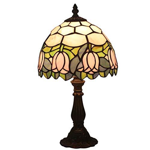 LONGSAND Tiffany-Stil Tulip Tischleuchte Europäische Weinlese-Pastoral Blumen Schreibtisch-Licht-Handgefertigte Glasmalerei Lampshade Beleuchtung Für Schlafzimmer Wohnzimmer, 8 Zoll