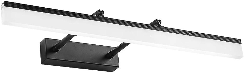 VinDeng Schwarz LED Wasserdicht Spiegellampe, 12W Verstellbar Spiegelleuchte Mit Acryl Aluminium Moderne Wandleuchte Für Badezimmer Kommode Wandlicht-60cm Warmes Wei