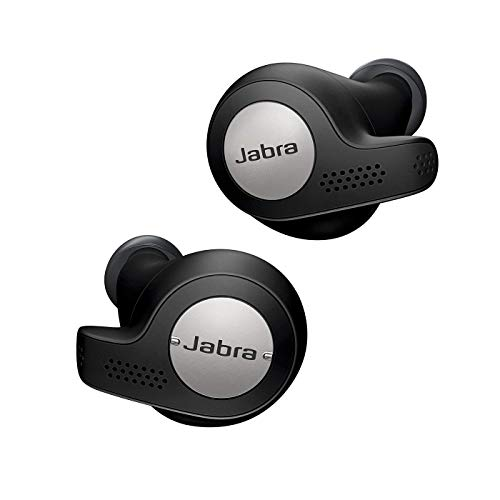Jabra Elite Active 65t Earbuds – True Wireless Earbuds with Charging Case, Titanium Black – Bluetooth Earbuds with a Secure Fit and Superior Sound, Long Battery Life and More (Renewed)