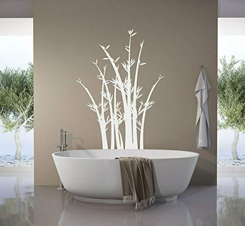 tjapalo® pk273 Wandtattoo Bambus Schilf Strauch Dekoration Wandaufkleber für Badezimmer und Wohnzimmer viele Farben, Farbe: olive, Größe: H90xB58cm