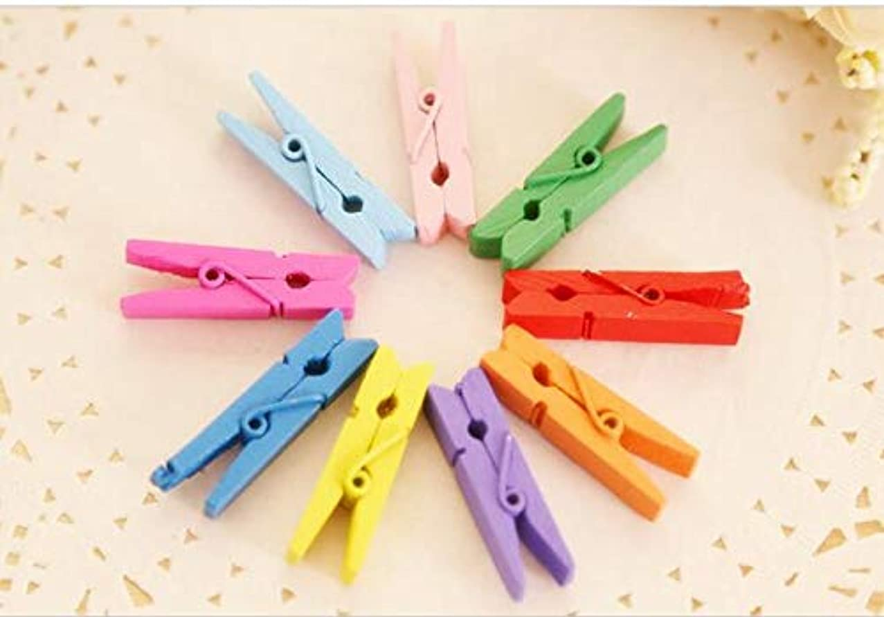 SMALL-CHIPINC - Cute 20pcs/bag Mini color Wooden Clothes Photo Paper Peg Pin Clothespin Craft Food Postcard Clips Home Crafts Decoration