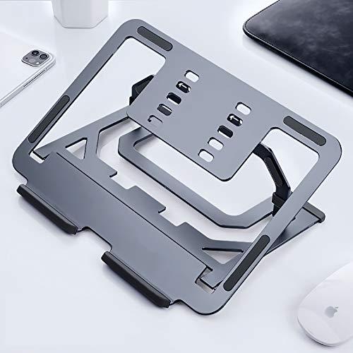 KCZAZY - Soporte para portátil (2 en 1, aluminio aeronáutico), soporte ergonómico universal ligero y refrigerante (exclusivo), color gris espacial